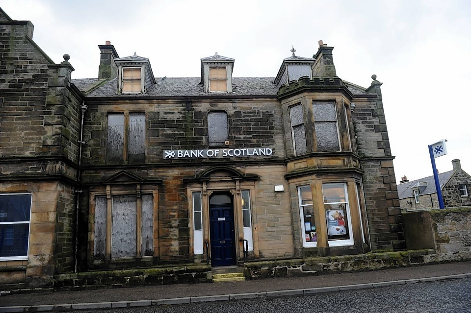 The boarded up Bank Of Scotland building in Burghead, Moray.