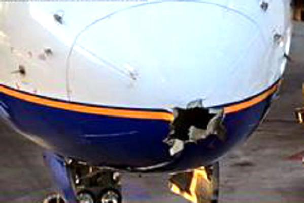 Images have shown the huge hole left in the front of the plane by the lightning strike