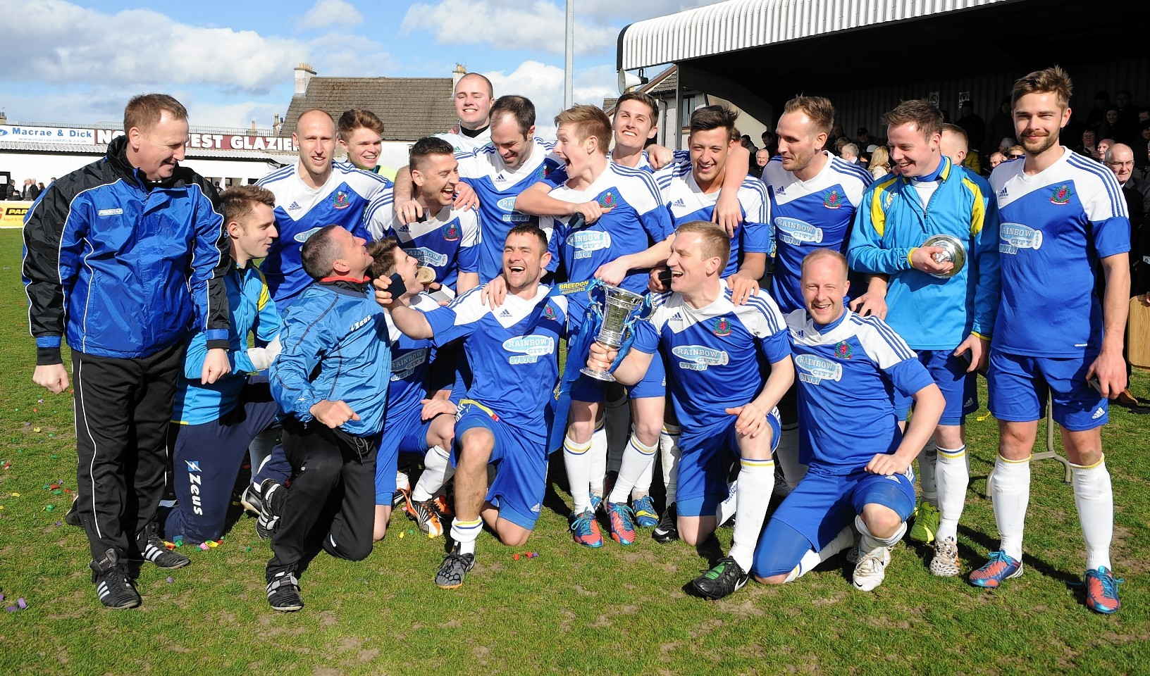 Cove Rangers celebrate with the trophy