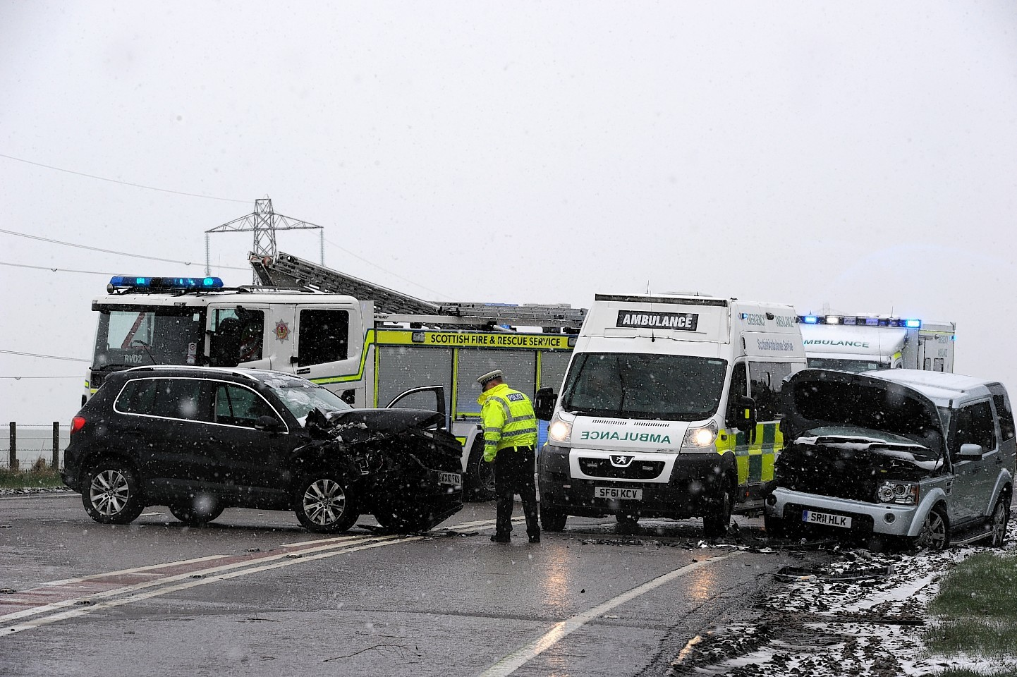 There was heavy snow at the scene of the accident on the A96. Picture by Kenny Elrick.