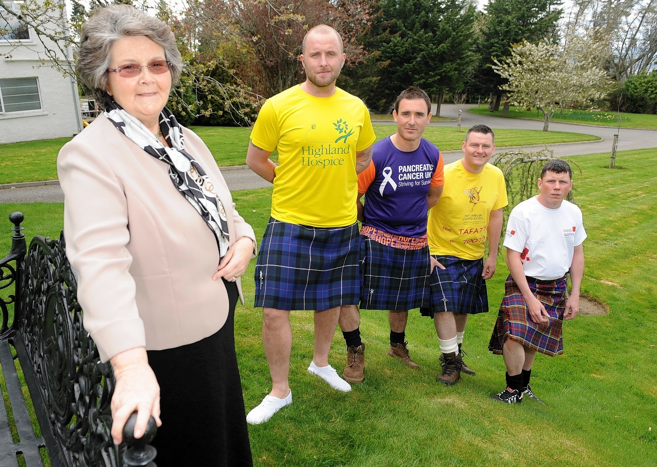 Donald MacLennan, Jamie Harkness, Brian Innes and Graeme Anderson with Christine Macdonald