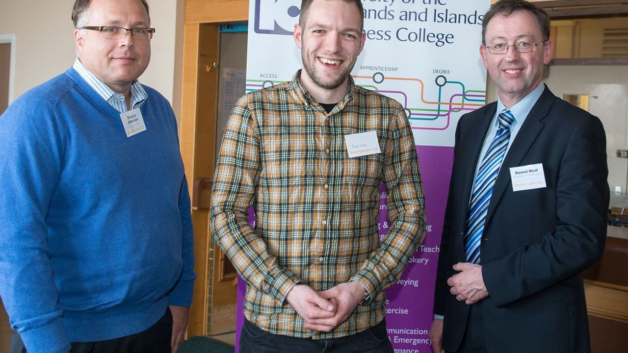 Douglas Johnson from Jacksonville University, Florida; Michael Hough from Inverness College UHI; Stewart Nicol, Inverness Chamber of Commerce