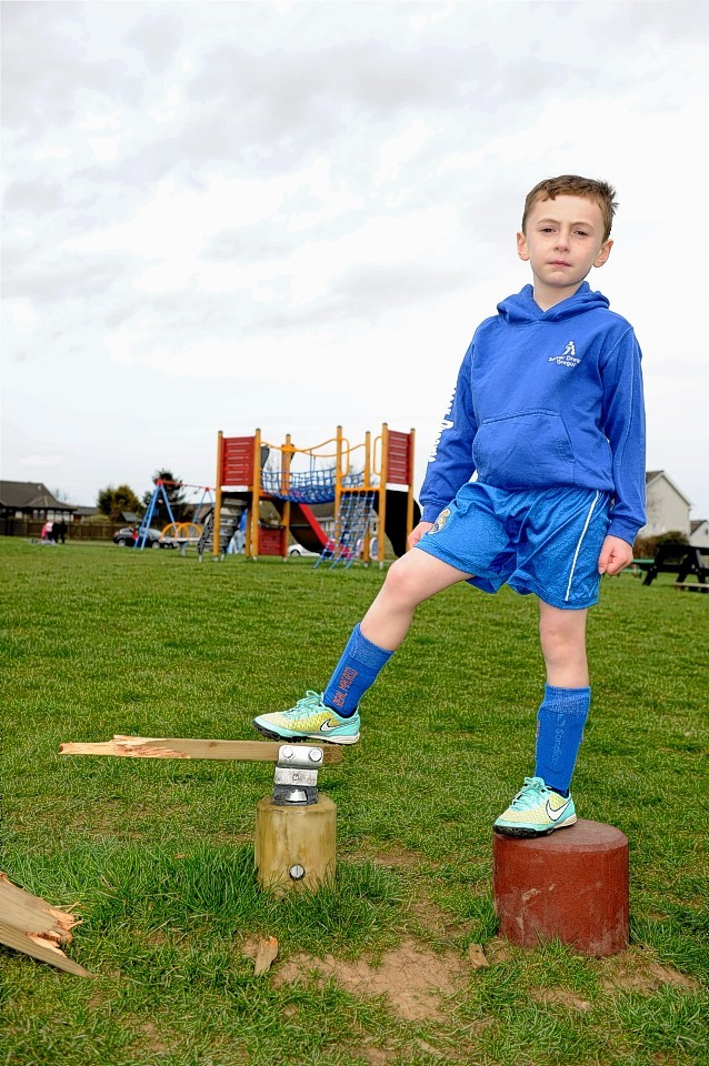 Auchterellon Play Park at Ellon has been vandalised. Six year old Gregor Neilson at the scene.