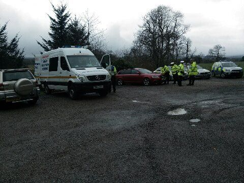 One of the search teams by the loch