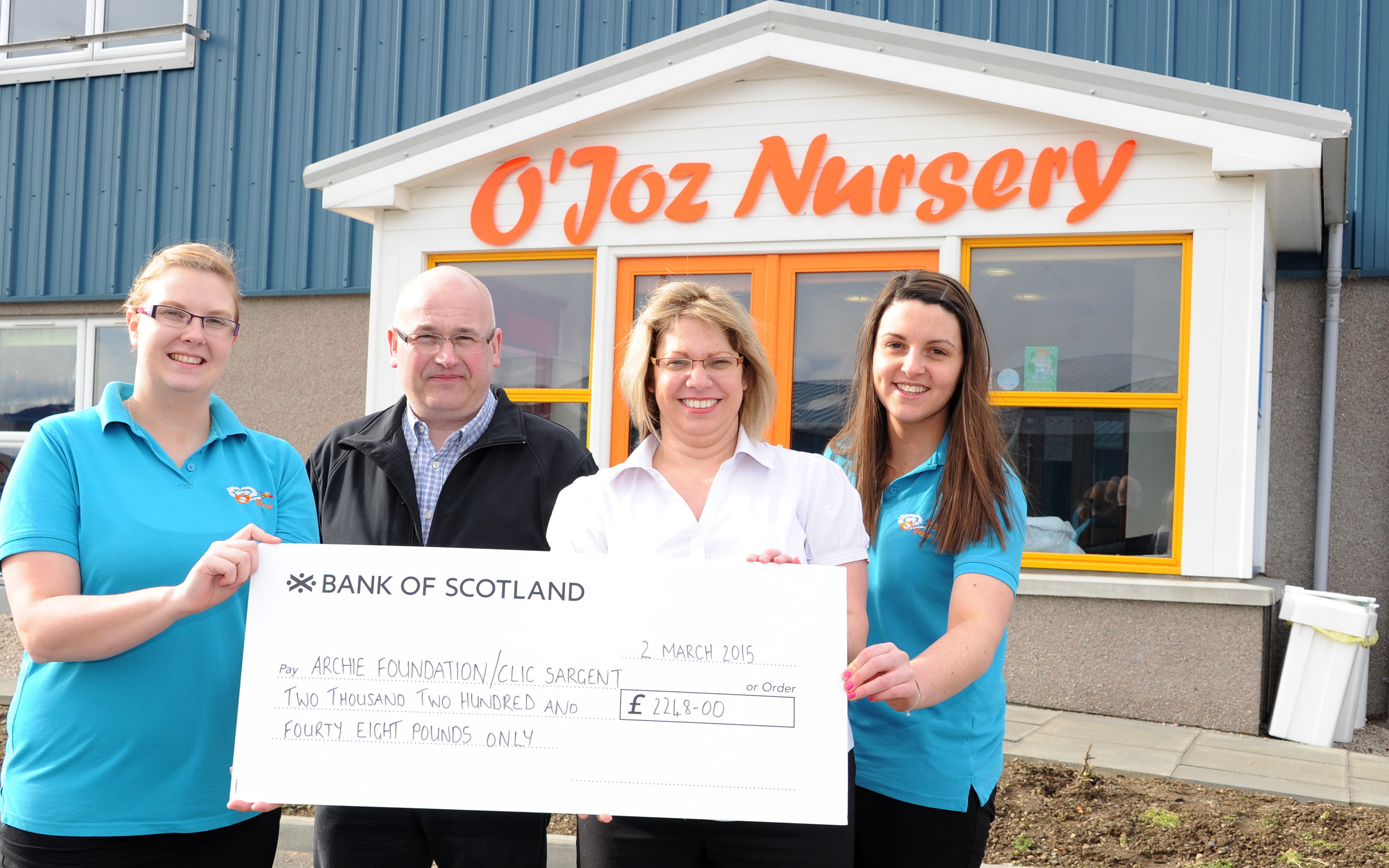 O'Joz nursery and Fabritech have raised more than £2,200 for two charities