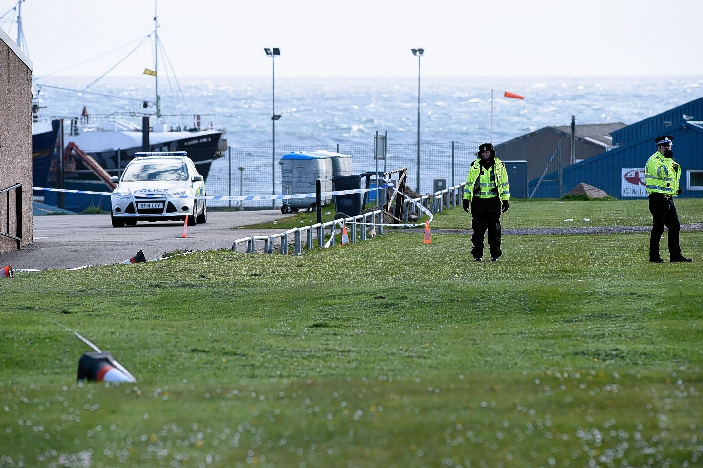Police at the scene of the discovery in Fraserburgh