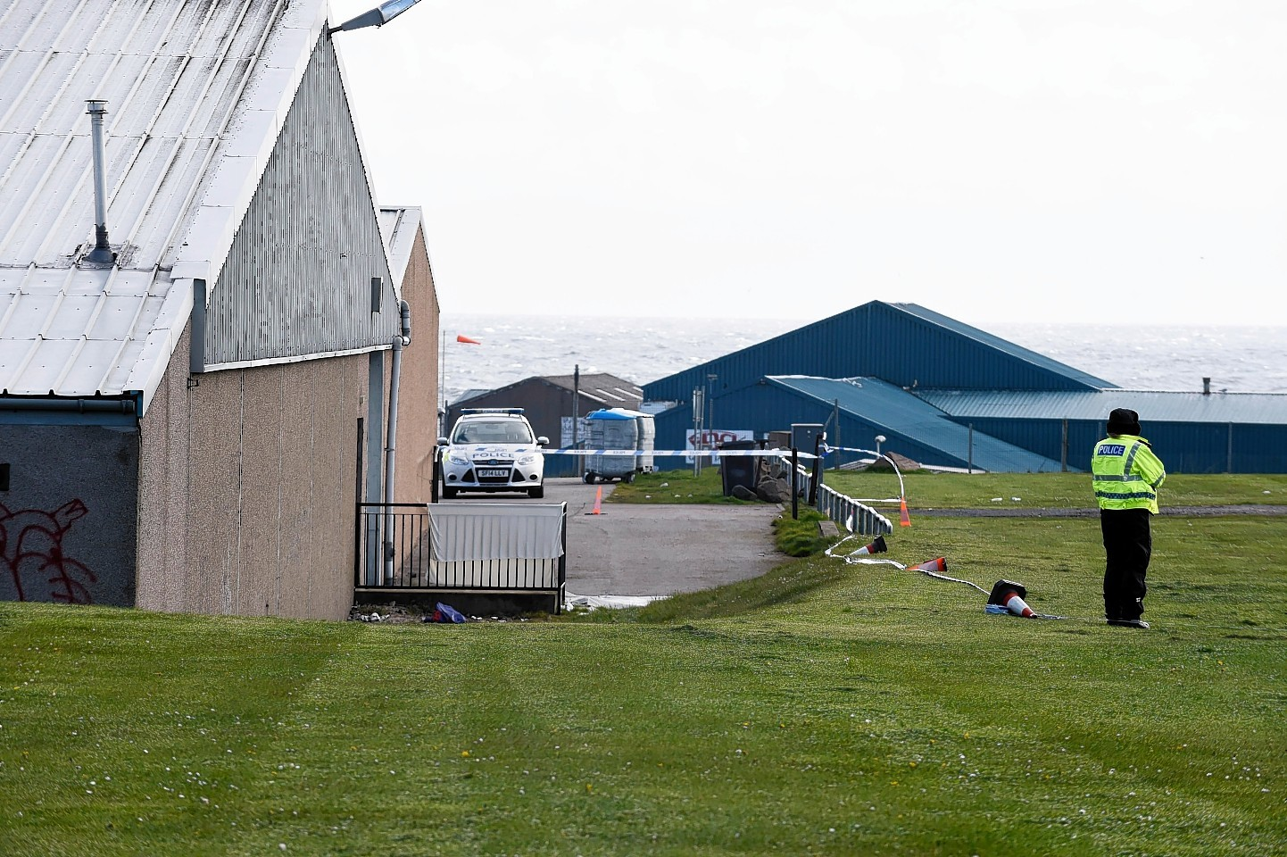Police at the scene near Fraserburgh Leisure Centre