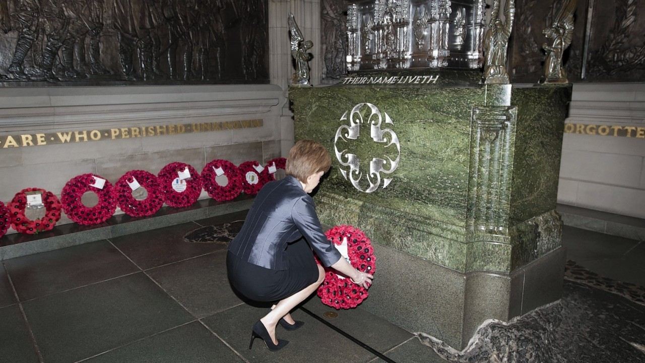 First Minister of Scotland Nicola Sturgeon laying a wreath at a special ceremony to mark the centenary of the Gallipoli Campaign at Edinburgh Castle,