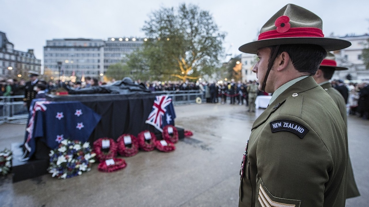 Handout photo issued by the Ministry of Defence of a dawn service held at Wellington Arch in London in memory of Australian and New Zealand troops who died in the First World War's Gallipoli campaign