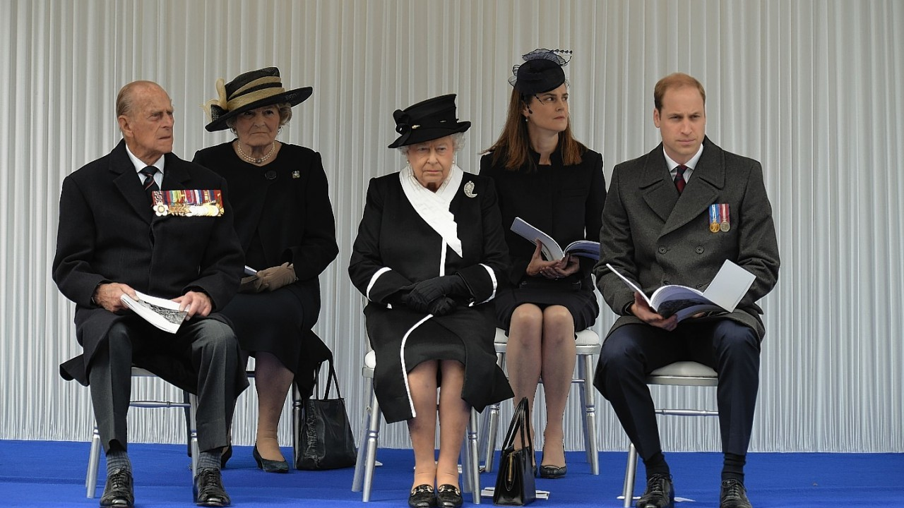 The Duke of Edinburgh, Queen Elizabeth II and the Duke of Cambridge attend the National Commemoration of the centenary of the Gallipoli campaign and ANZAC Day at the Cenotaph in Whitehall, London.