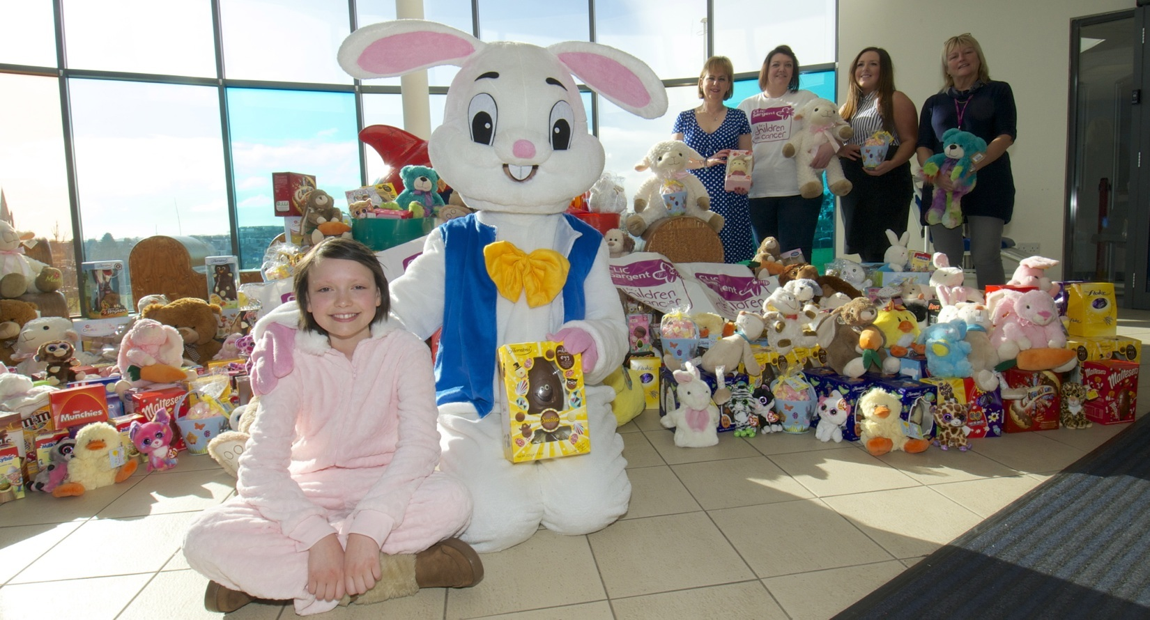 Patient Abbie Nain with Easter Bunny