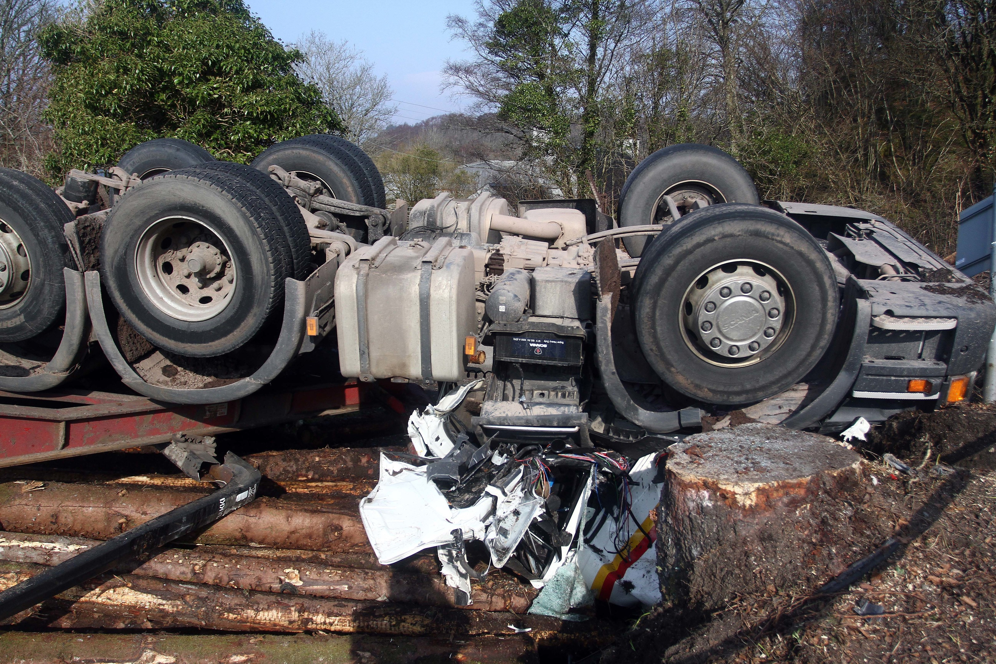 The lorry overturned on a road in Argyll