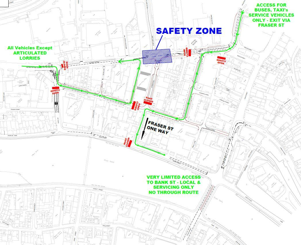 Map shows the traffic restrictions in place in Inverness this weekend