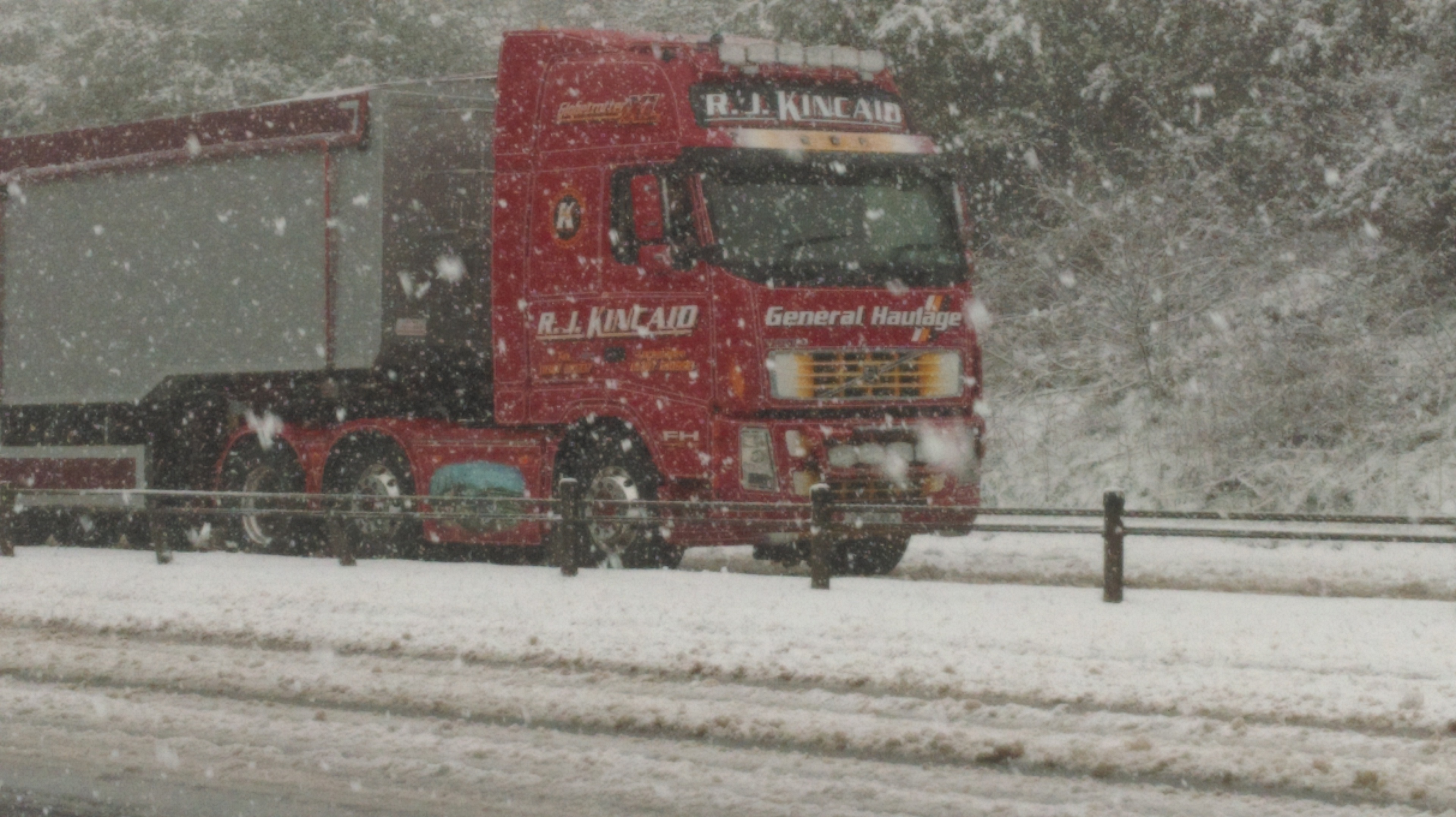 A lorry battles through the snow on the A9 near Inverness