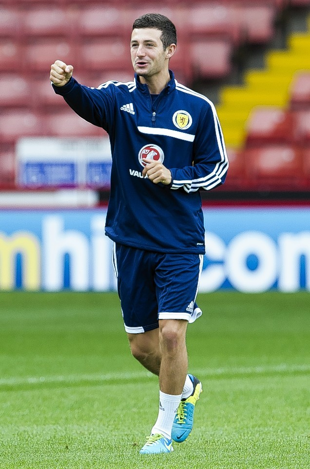 Holt training with the Scotland under-21 squad