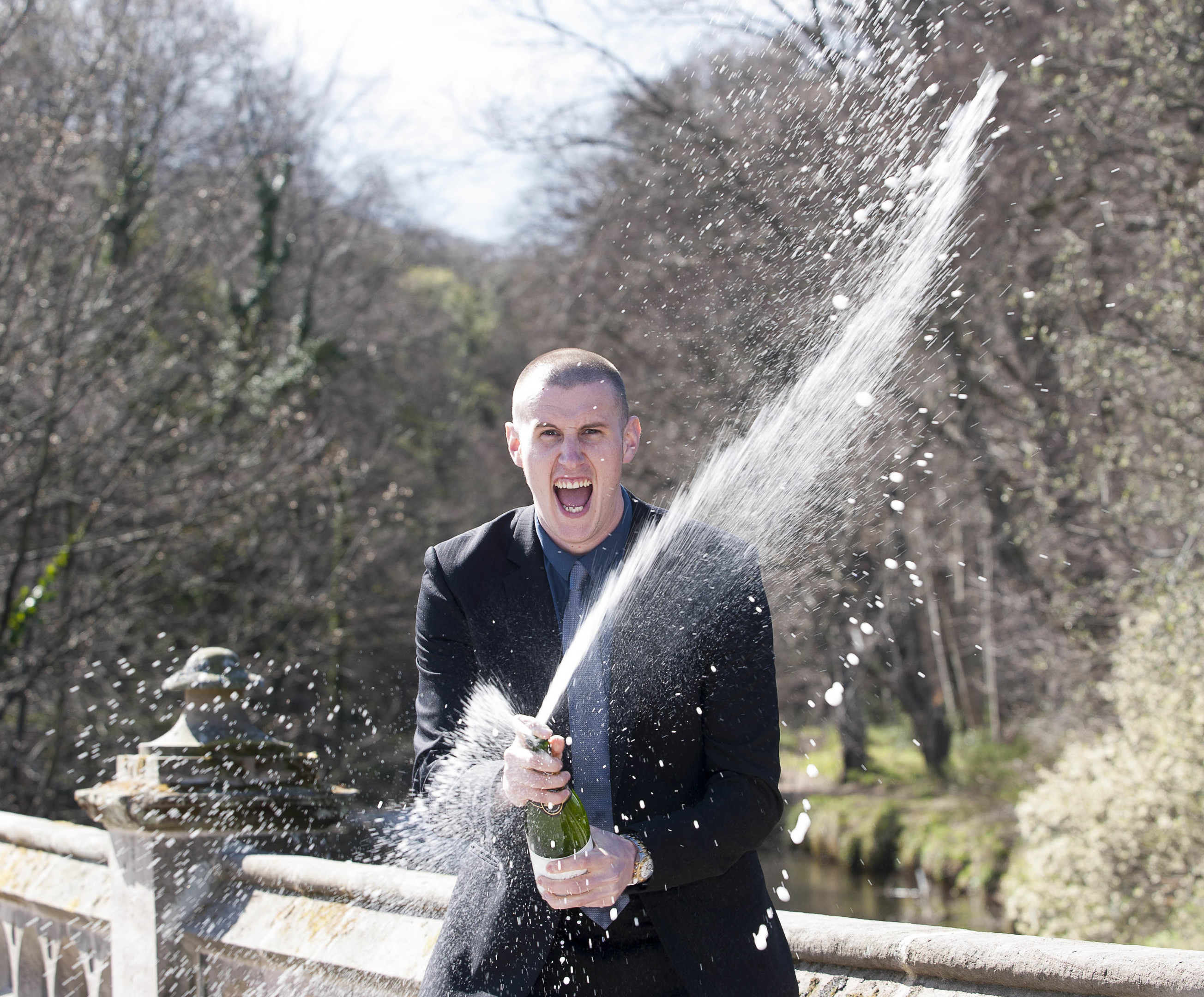 Lotto Winner Michael Innes celebrates in traditional fashion