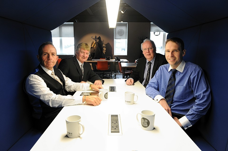 Professor Gary McEwan, Chief Executive Elevator, Andy Willox, Vice Chair of the UK National Policy Committee FSB, Ian Armstrong, SCDI Regional Director and James Bream, Research and Policy Director Aberdeen & Grampian Chamber of Commerce
