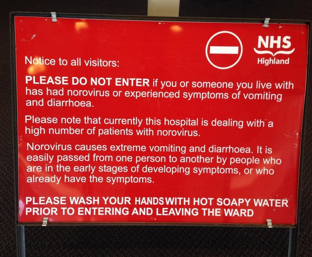The warning signs at Raigmore Hospital