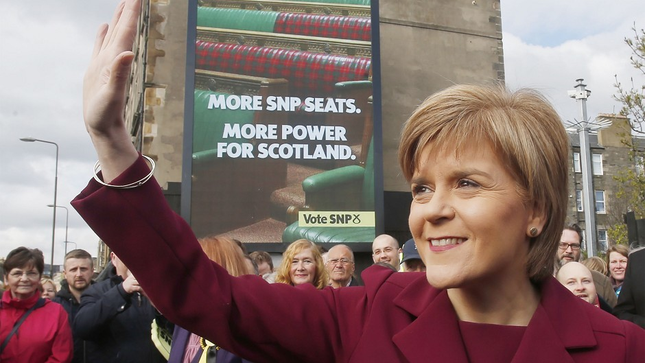 First Minister Nicola Sturgeon unveils the SNP's final poster of the General Election 2015 campaign in Edinburgh.