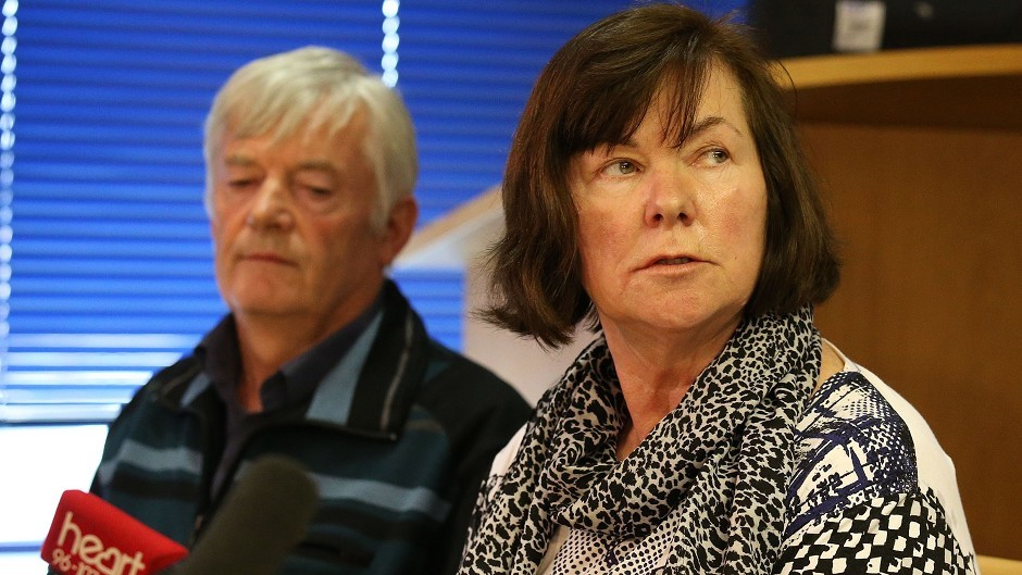 Marian and John Buckley, parents of Karen Buckley, made a statement during a press conference at Govan Police Office in Glasgow