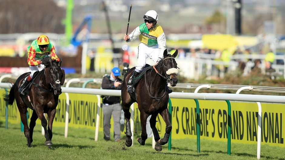 Leighton Aspell celebrates victory on Many Clouds in last year's Grand National