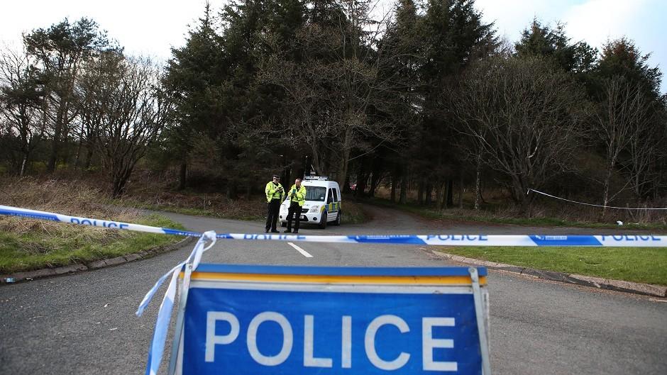 Police block a road near Windyhill Golf club