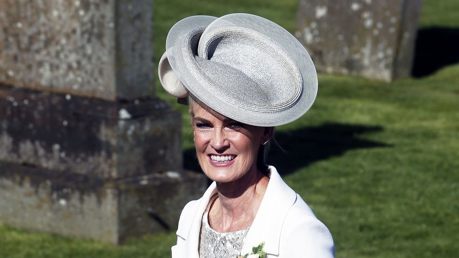 Judy Murray arrives for the wedding of her son and British tennis number one Andy Murray to his long-term girlfriend Kim Sears at Dunblane Cathedral. (PA)