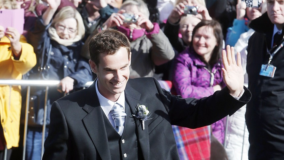 British tennis number one Andy Murray arrives at Dunblane Cathedral