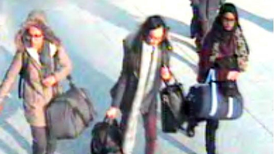 Three Bethnal Green Academy pupils disappeared from their homes in east London in February and flew to Turkey, before crossing the border into wartorn Syria last month. (Metropolitan Police/PA Wire) Handout still taken from CCTV issued by the Metropolitan Police of (left to right) 15-year-old Amira Abase, Kadiza Sultana,16 and Shamima Begum,15 at Gatwick airport, before they caught their flight to Turkey. Metropolitan Police officers are in Turkey as the search continues for three missing schoolgirls believed to have fled to Syria to join Islamic State.