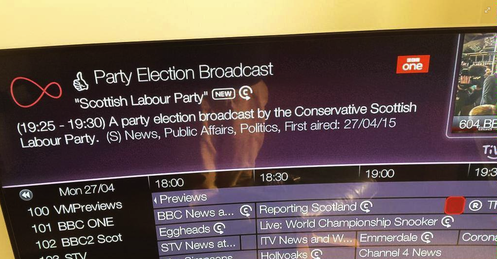 The television guide appears to have a bit of a dig at the Scottish Labour and Conservative parties