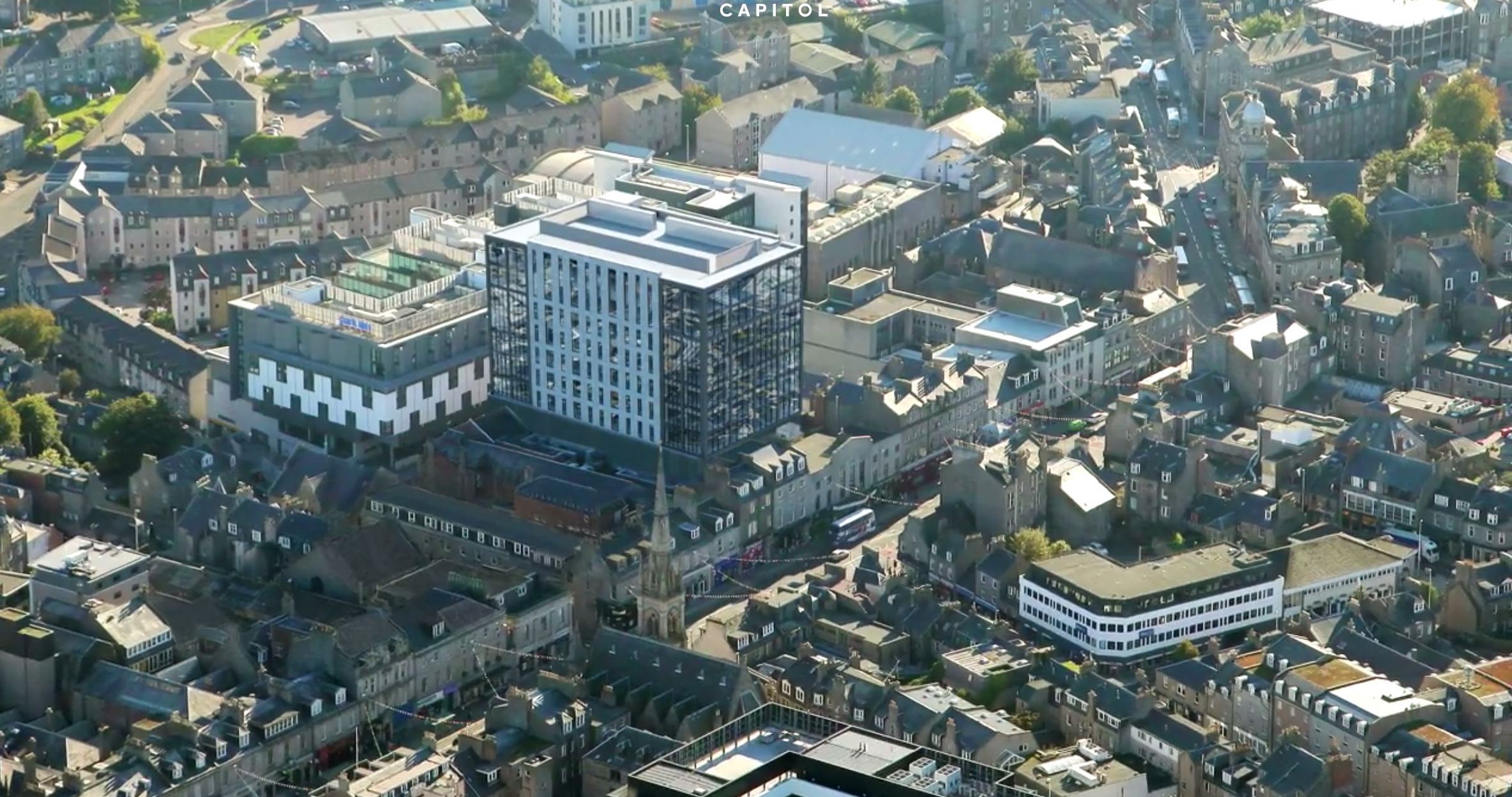 An artist impression of how the building will look when finished set against the surrounding area