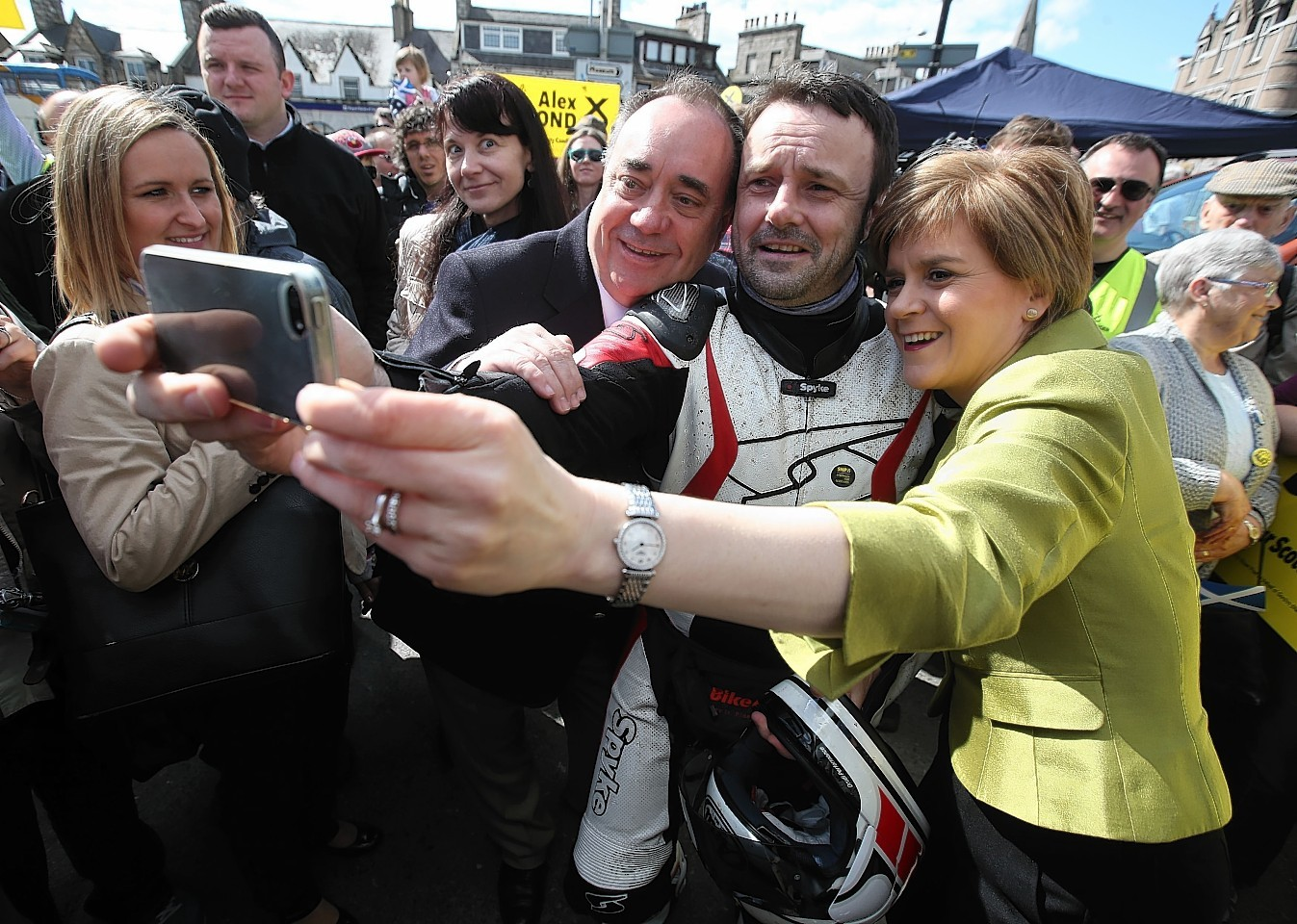 First Minister Nicola Sturgeon and Alex Salmond meet supporters while on the General Election campaign trail in Inverurie