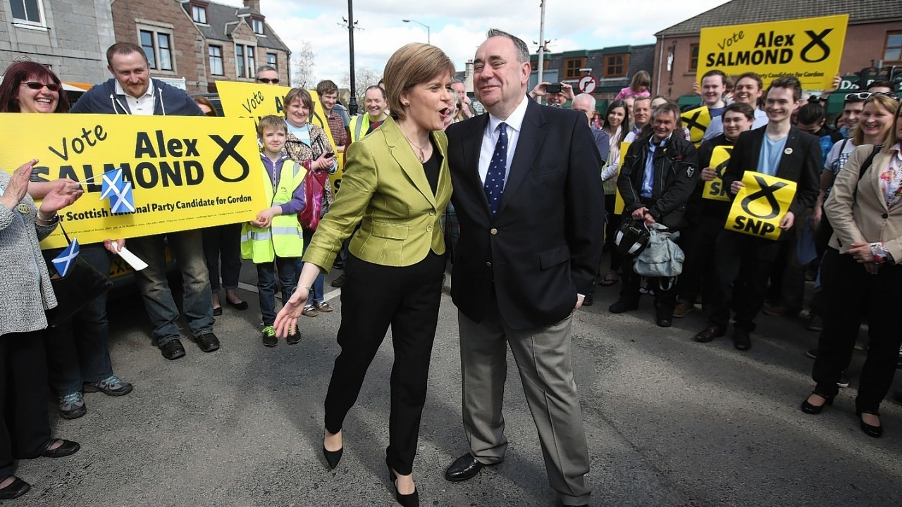First Minister Nicola Sturgeon with Alex Salmond while on the General Election campaign trail in Inverurie