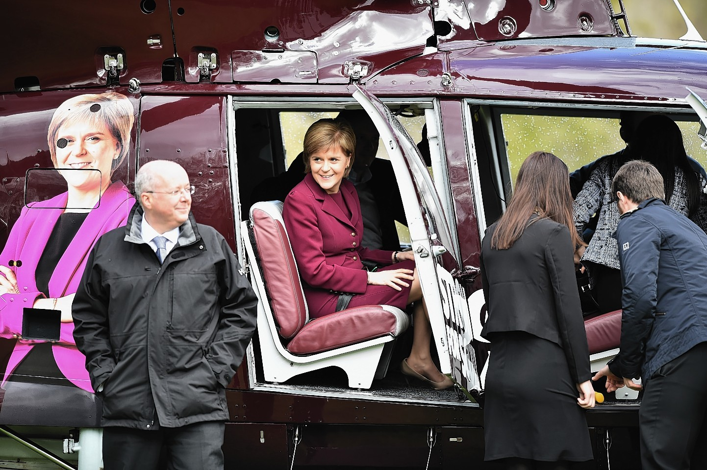 Nicola Sturgeon Boards A Helicopter To Continue Campaigning