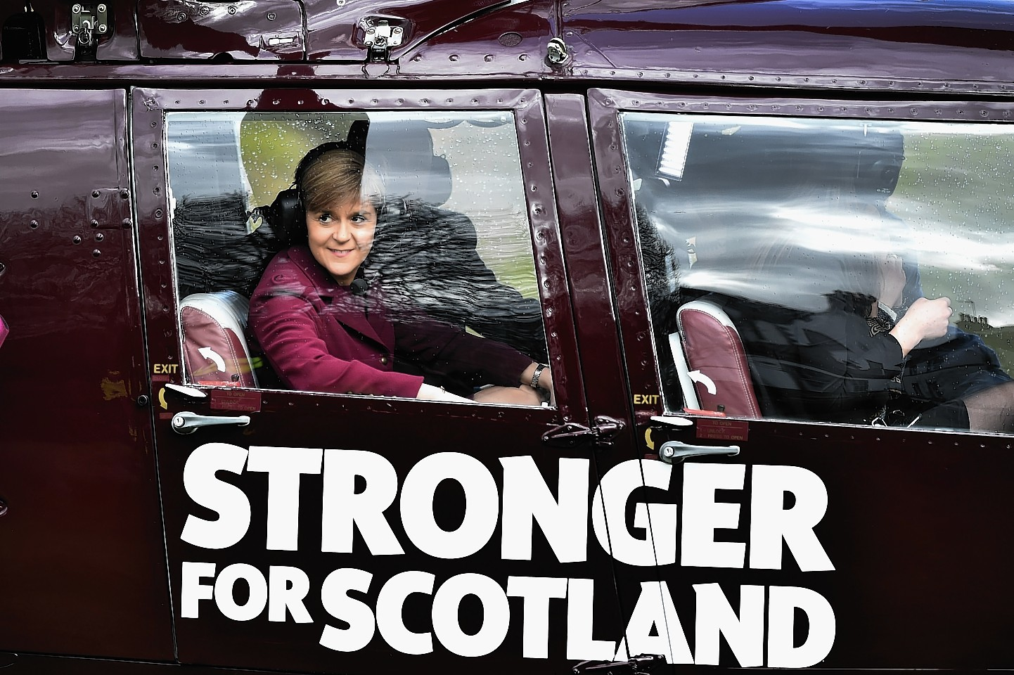 First Minister Nicola Sturgeon on board the helicopter
