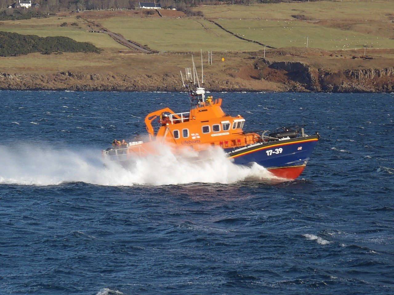 Tobermory lifeboat on exercise in the Sound of Mull, by Toby Roff, Lochaline, Morvern.