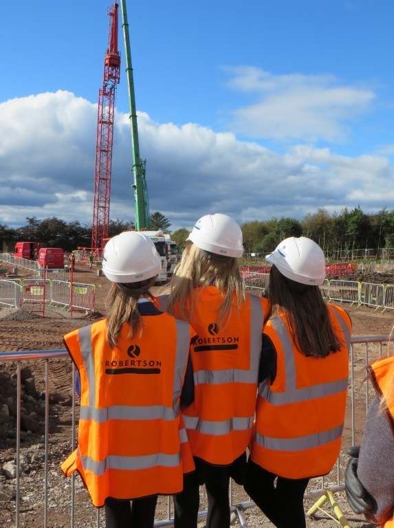 Pupils from Brechin High School learning about tower cranes.