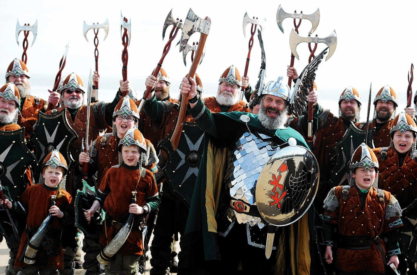 To highlight the breath-taking culture of Shetland and Scotland to the VisitScotland Expo at the AECC, a 38 man Jarl Squad of Vikings from Shetland arrived at Aberdeen beach yesterday.