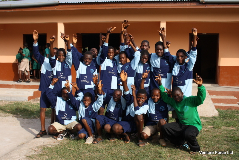 The youngsters at the Evangelical Presbyterian Church school in the town of Ve Koloenu, in the Volta region of Ghana, wearing their Banchory  Boys strips.