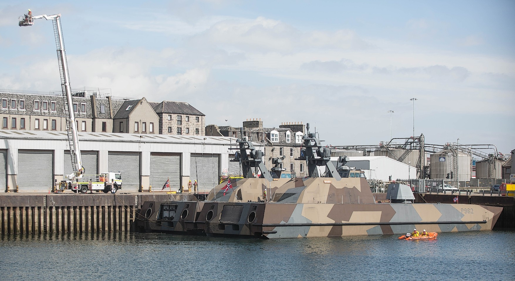 Two state of the art stealth missile boats belonging to the Royal Norwegian Navy docked in Aberdeen.