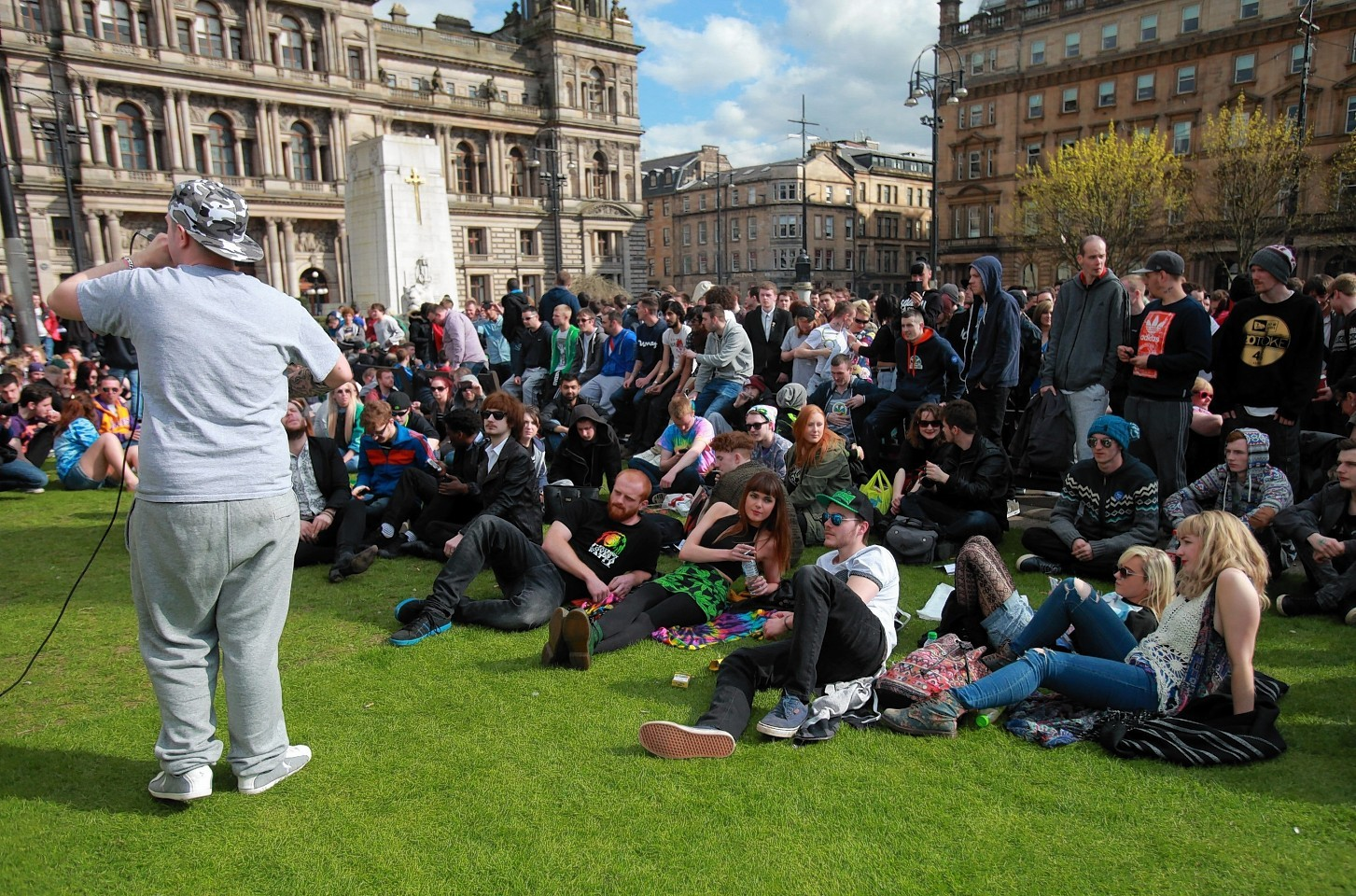 Hundreds of people came together for the 420 Cannabis Celebrations in George Square in Glasgow