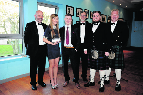 Filippo Antoniazzi, Laura Gerrard, Charlie Flynn, Ferdinand von Prondzynski, Vinny O'Donovan and Gary Ross at the RGU Sport Awards Ball