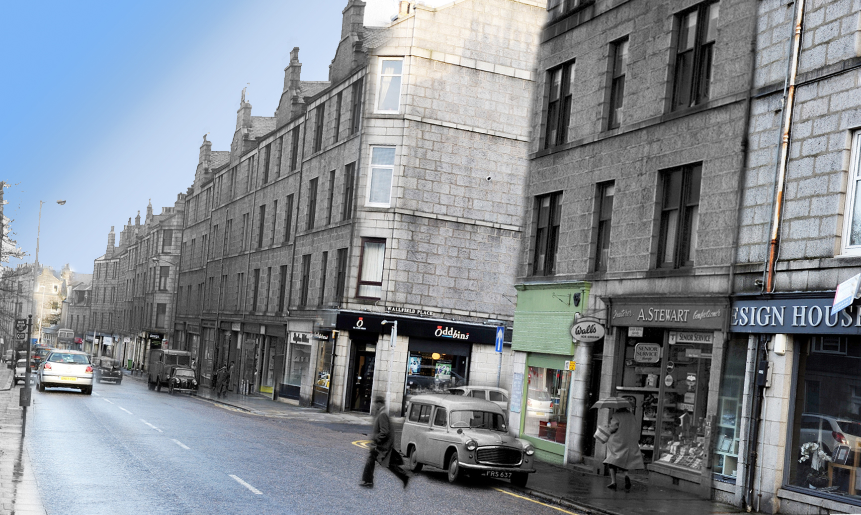 A 1960s Rosemount Place  montaged with the present day