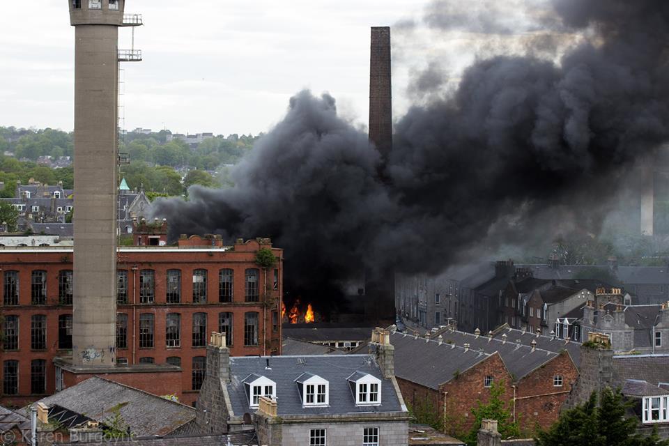 Aberdeen's Broadford Works up in flames. Picture by Karen Burgoyne