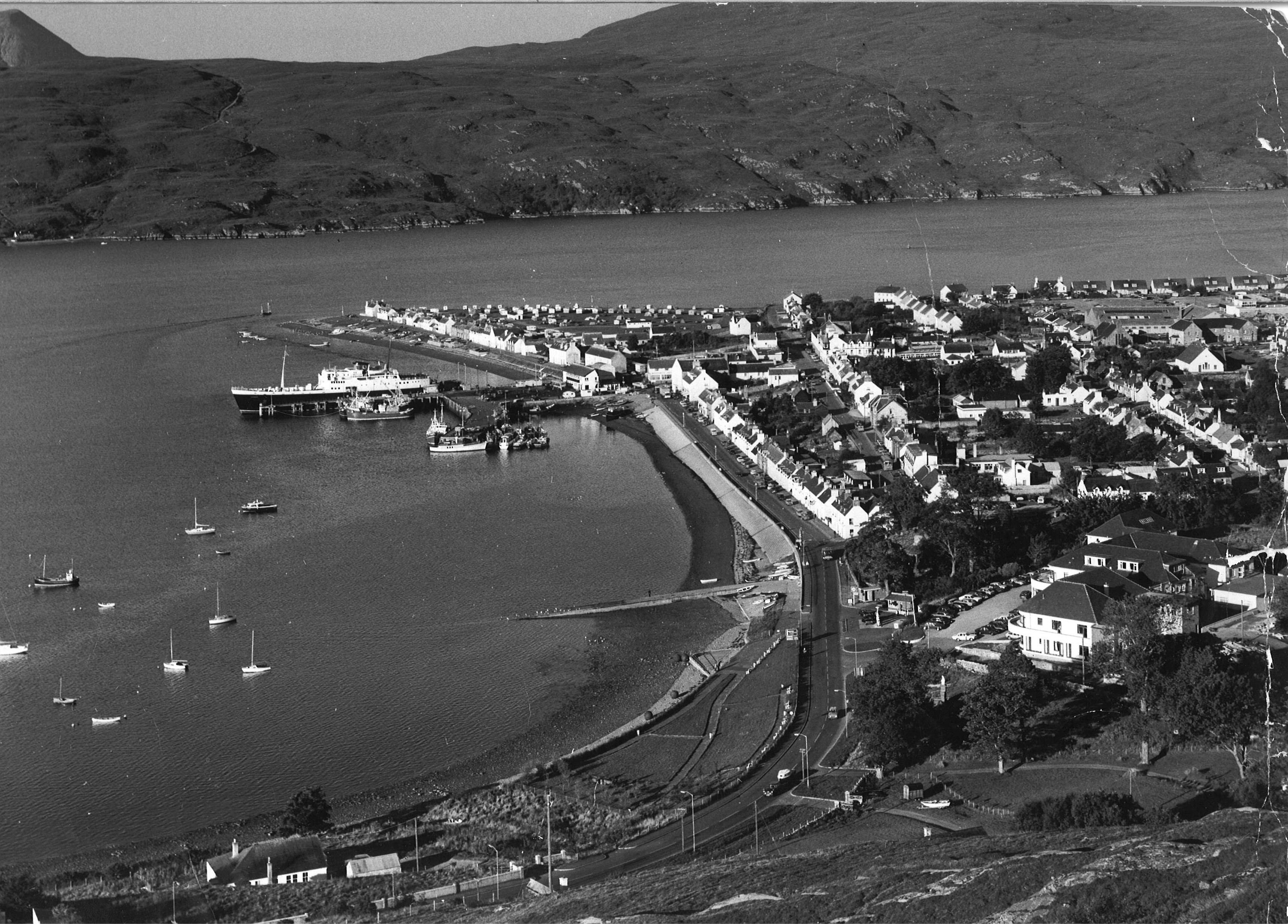 Ullapool shines in the sun. Views taken from the Braes of Ullapool, 1973
