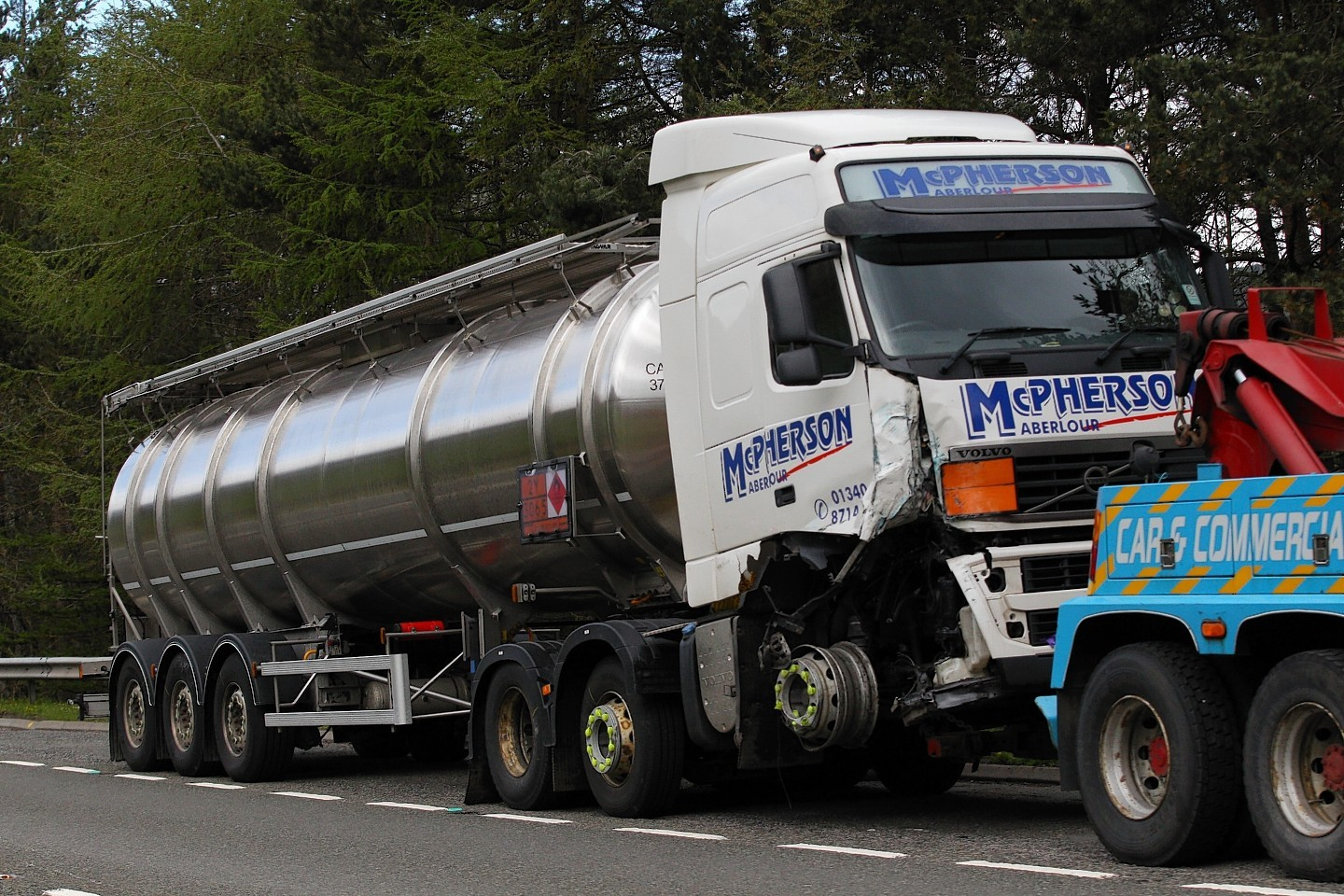 The lorry involved in Thursday's crash