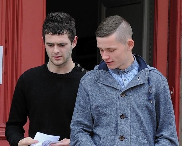 Samuel Cass, left, and Jamie Arbuthnot, right, leaving Elgin Sheriff Court