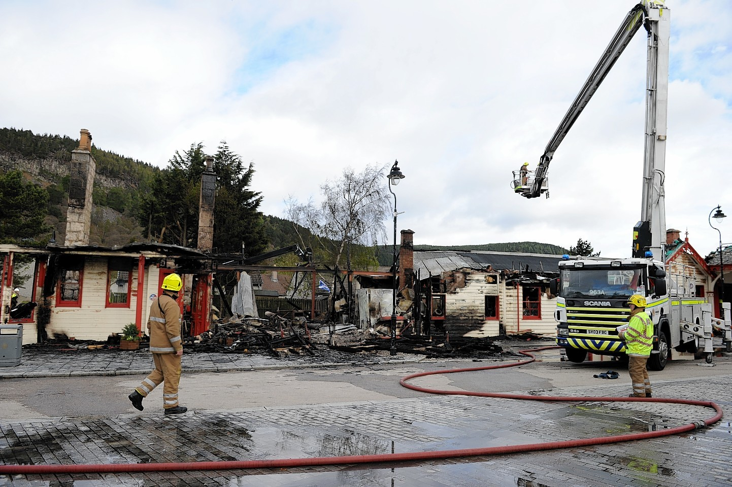 Scottish Fire and Rescue attend a fire at the old Royal Railway station at Ballater