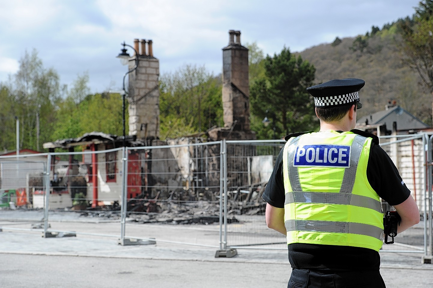 Police at the scene of the fire at Old Royal Station, Ballater