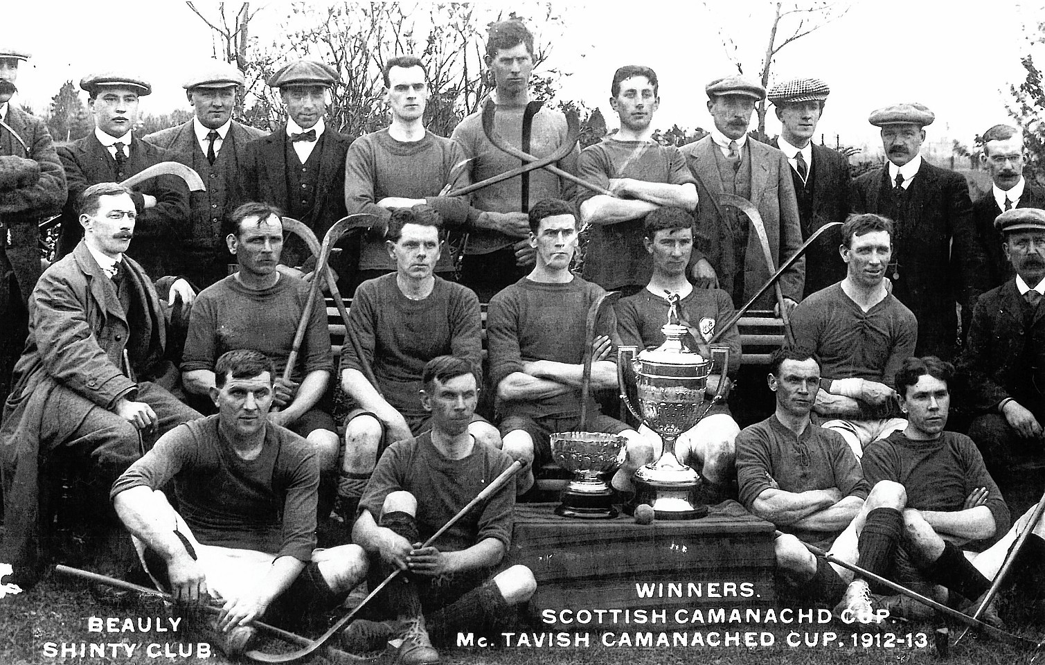 Beauly Shinty Club, winners of the Camanachd Cup in 1912-13